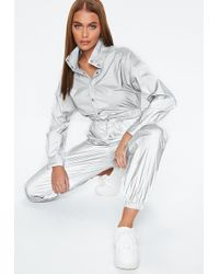 Missguided - Silver Reflective Jumpsuit - Lyst