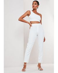 Missguided White Co Ord Basic Cigarette Pants