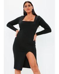 Missguided - Plus Size Black Bandage Square Neck Midi Dress - Lyst