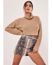 Missguided Petite Sand Turtle Neck Cropped Jumper - Natural