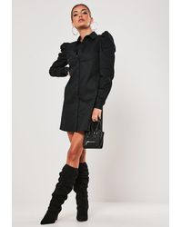 Missguided Black Poplin Puff Sleeve Shirt Mini Dress