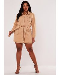 Missguided Size Tan Denim Utility Belted Shirt Dress - Brown