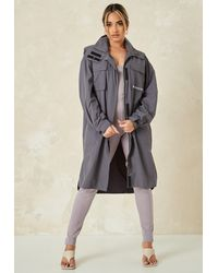Missguided Co Ord Lightweight Trench Coat - Grey