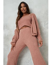 Missguided Rose Cozy Knit Balloon Sleeve Cardigan - Pink