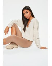 Missguided - Brown Cropped Leggings - Lyst