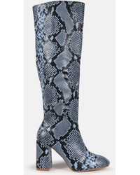 Missguided Snake Knee High Mid Heel Boots - Blue