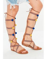 cfd15cc0d7a7 Missguided - Brown Pom Pom Embroidered Gladiator Sandals - Lyst