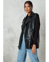 Missguided Faux Leather Biker Gilet - Black