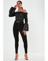 Missguided Black Faux Leather Shirred Bardot Top