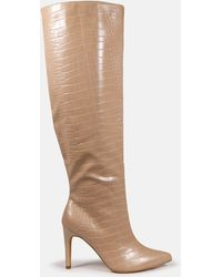 Missguided Croc Over The Knee Mid Heel Boots - Natural