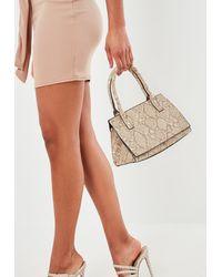 Missguided Snake Print Top Handle Bag - Natural