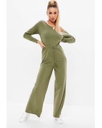Missguided - Khaki Loopback Jumpsuit - Lyst