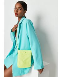 Missguided - Neon Yellow Button Detail Cross Body Bag - Lyst