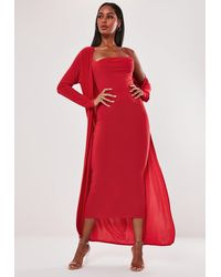 Missguided Red Slinky Strappy Midi Dress And Kimono Set