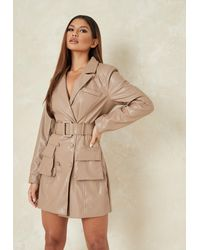 Missguided Faux Leather Belted Blazer Dress - Natural