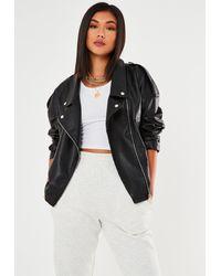 Missguided Faux Leather Oversized Biker Jacket - Black