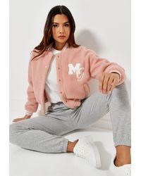 Missguided Pastel Borg Teddy Varsity Jacket - Pink