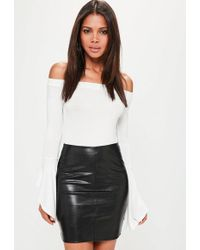 758690ae4 Missguided Black Reptile Pattern Faux Leather Skirt in Black - Lyst