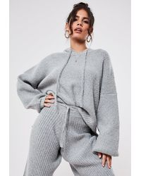 Missguided Premium Gray Co Ord Oversized Hooded Knit Sweater