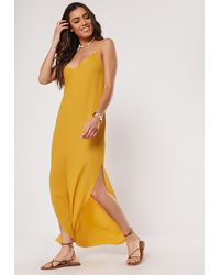 Missguided Mustard Strappy Side Split Maxi Dress - Yellow