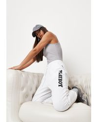 Missguided Playboy X White Graphic Sweatpants