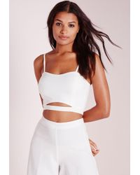 Missguided Crepe Cut Out Bralet Top White