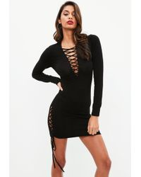 Lyst - Missguided Crepe Long Sleeve Back Detail Bodycon Dress Black ... 2d26dff1e