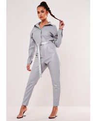 Missguided Gray Faux Leather Button Down Jumpsuit