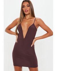 Missguided - Plum V Neck Strappy Mini Dress - Lyst