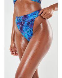 Missguided Snake Print High Leg Tanga Bikini Bottoms - Blue