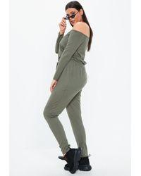 9b82dfc082 Missguided - Plus Size Khaki Ribbed Bardot Jumpsuit - Lyst