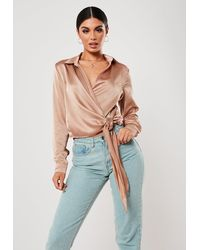 Missguided - Satin Side-tie Top At , Champagne - Lyst