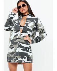 Missguided - Grey Camo Shirt Dress - Lyst