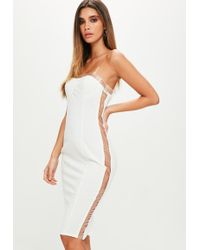 Missguided - White Bustcup Vinly Side Dress - Lyst