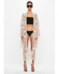 Missguided Peace + Love Nude Embellished Kimono Jacket - Natural