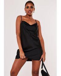 Missguided Satin Cowl Neck Cami Mini Dress - Black
