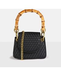 Missguided Bamboo Top Handle Woven Mini Bag - Black