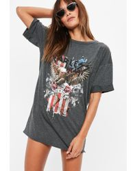 Missguided Petite Graphic Rock Jersey T Shirt Dress - Multicolour