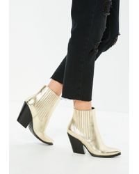 Missguided - Gold Curved Heel Western Chelsea Ankle Boots - Lyst