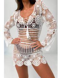 Missguided Crochet Tassel Beach Cover Up Dress - White