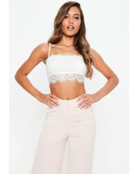 95715a626896a6 Missguided Red Strappy Eyelash Lace Bralette in Red - Lyst