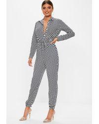 b014f4870924 Lyst - Missguided Geometric Print Sweetheart Bandeau Jumpsuit Black ...