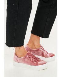 Missguided - Pink Velvet Platform Trainer - Lyst