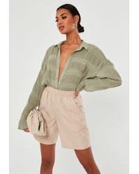 Missguided Sage Sheer Crinkle Extreme Oversized Shirt - Multicolour