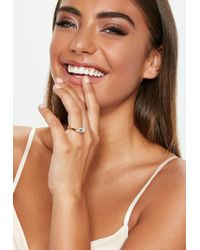Missguided - 3 Stone Gold Look Engagement Ring - Lyst