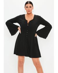835d1dd45d898 Missguided - Plus Size Black Flare Sleeve Button Skater Dress - Lyst