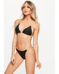 Missguided - Black Clear Strap Triangle Bikini Set - Lyst