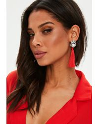 Missguided - Red Crystal Stud Tassle Earrings - Lyst