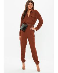 67ee4d3cce4 Lyst - Missguided Chocolate Velvet Plunge Jumpsuit in Brown