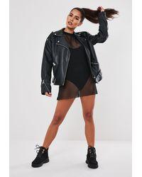 Missguided Black Fishnet Oversized T Shirt Dress